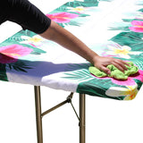 "TableClothPLUS 72"" Summer Fitted Polyester Tablecloth for 6' Folding Tables"