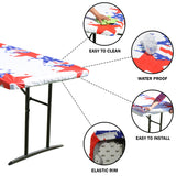 "TableClothPLUS 72"" Patriotic Fitted PEVA Vinyl Tablecloth for 6' Folding Tables"