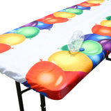 "TableClothPLUS 72"" Balloons Fitted PEVA Vinyl Tablecloth for 6' Folding Tables"