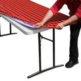 TableClothPLUS Checkerboard Black and Red Fitted PEVA Tablecloth 96 Inches Long