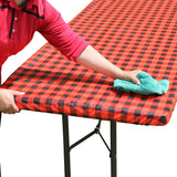 "TableClothPLUS 96"" Checkerboard Black and Red Fitted PEVA Vinyl Tablecloth for 8' Folding Tables"