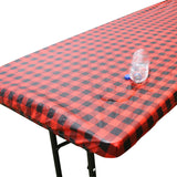 TableClothPLUS Checkerboard Black and Red Fitted PEVA Tablecloth 72 Inches Long
