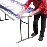 "TableClothPLUS 72"" Roses Fitted Polyester Tablecloth for 6' Folding Tables"