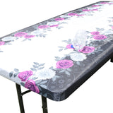 "TableClothPLUS 96"" Roses Fitted Polyester Tablecloth for 8' Folding Tables"