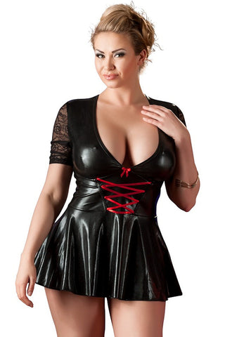 wet look plus size skater dress