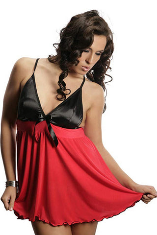 Black Satin Top Flared Negligee