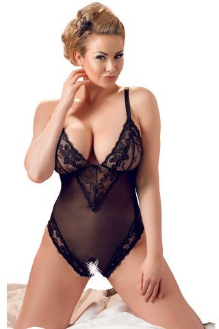 plus size crotchless bodysuit in black