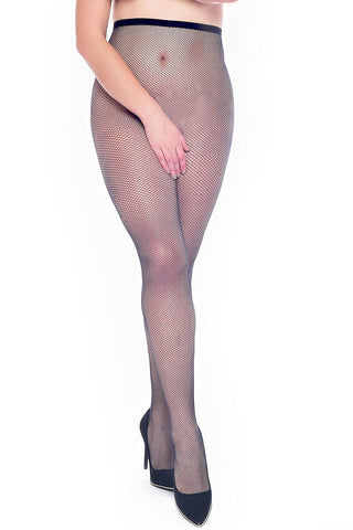black fishnet crotchless tights in larger sizes 18 to 32