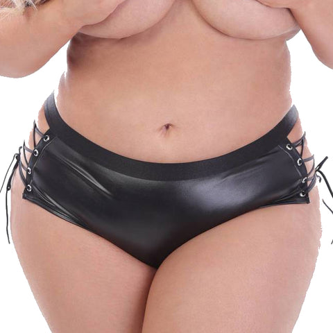 Lace Up Crotchless Faux Leather Briefs