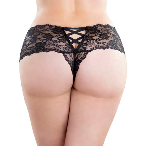 black lace oh la briefs in larger sizes