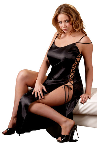 plus size slippery satin black chemise