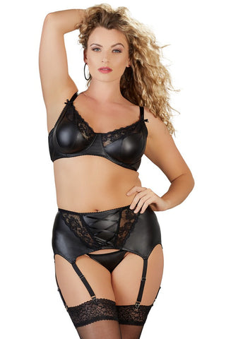 plus size wet look suspender belt new image blonde lady