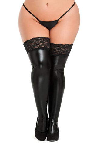 Plus Size Fierce Wet Look Hold Up Stockings
