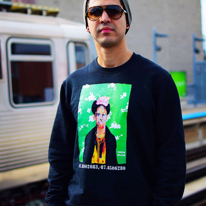 "PakRat Ink Unisex Crewneck Sweatshirt ""Big Frida"" by Marco Miller Chicago L Train"