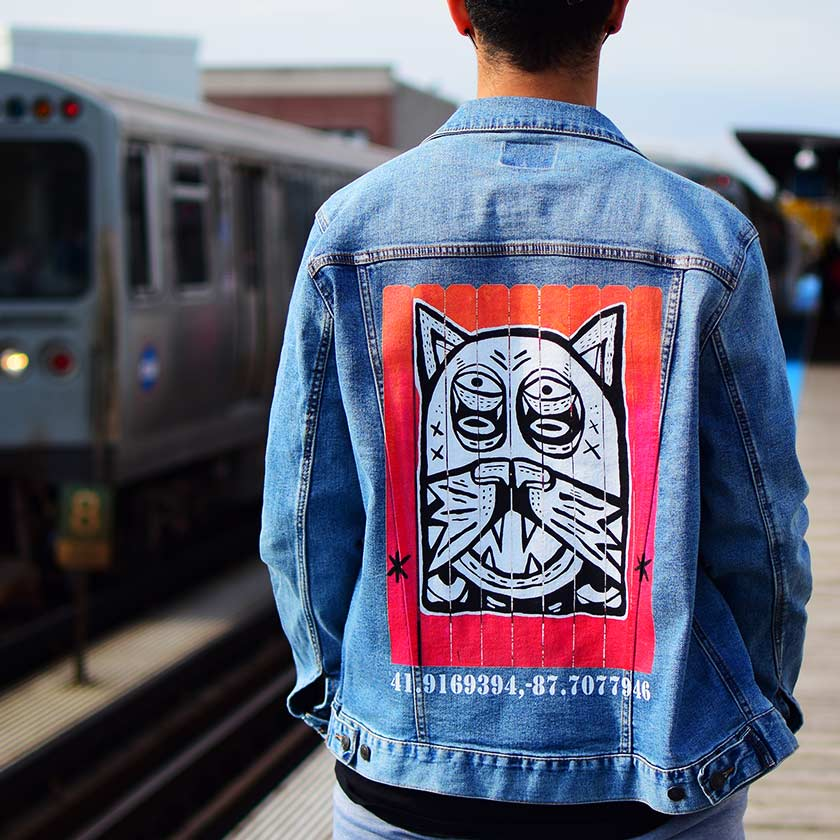 "PakRat Ink Unisex Denim Jacket ""Patio Dweller 2"" by Jaymes Josef Chicago L Train Station"