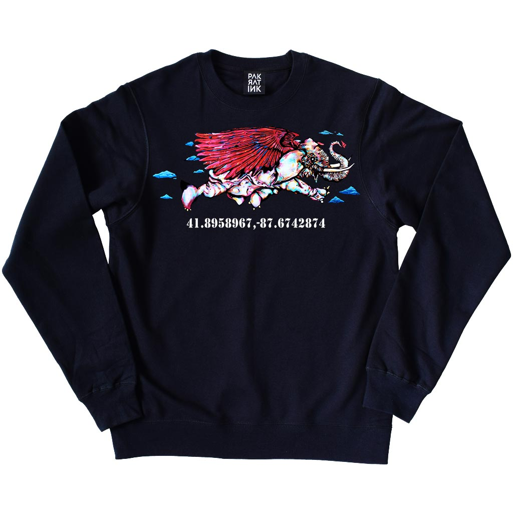 "PakRat Ink Unisex Crewneck Sweatshirt ""Take Off"" by Bunny!XLV"