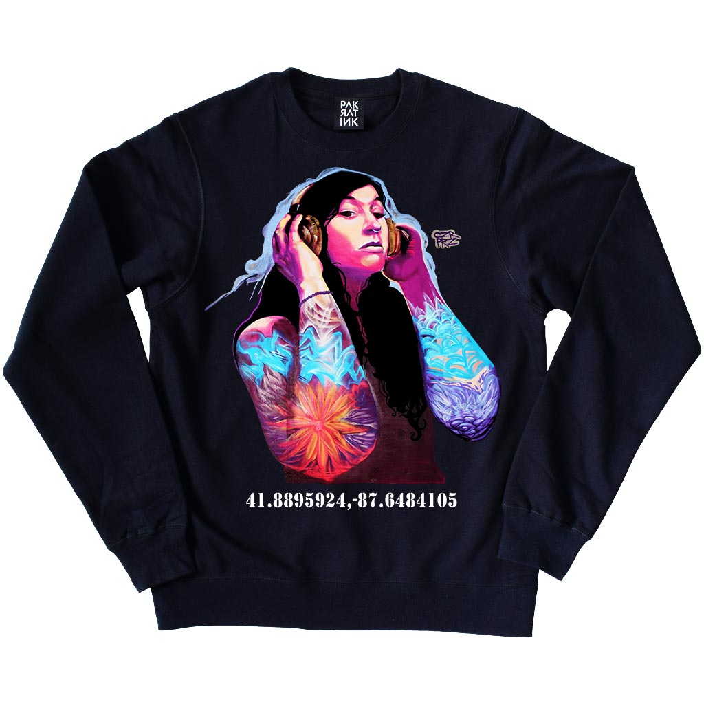 "PakRat Ink Unisex Crewneck Sweatshirt ""Good Vibrations"" by Czr Prz"