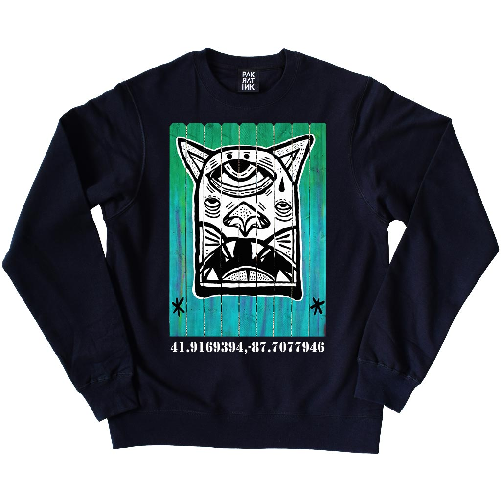 "PakRat Ink Unisex Crewneck Sweatshirt ""Patio Dweller 1"" by Jaymes Josef"