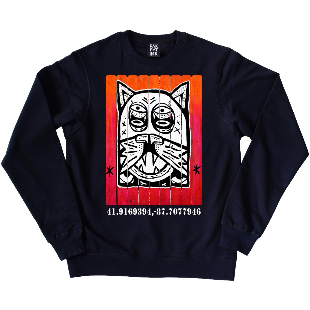 "PakRat Ink Unisex Crewneck Sweatshirt ""Patio Dweller 2"" by Jaymes Josef"