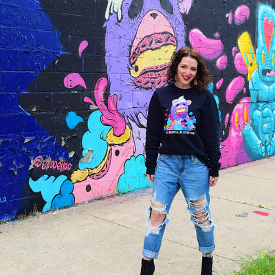 "PakRat Ink Unisex Crewneck Sweatshirt ""Sugared Plum"" by Elloo Chicago Street Artist"