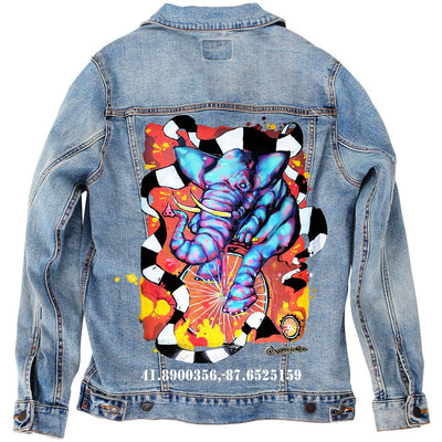 "PakRat Ink Unisex Denim Jacket ""Elephant on a Penny Farthing"" by Bunny!XLV"