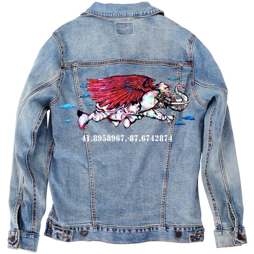 "PakRat Ink Unisex Denim Jacket ""Take Off"" by Bunny!XLV"