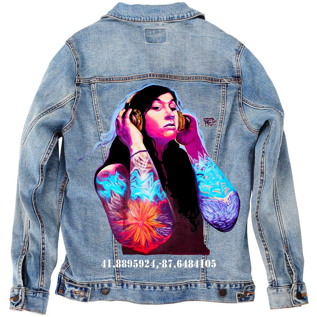 "PakRat Ink Unisex Denim Jacket ""Good Vibrations"" by Czr Prz"