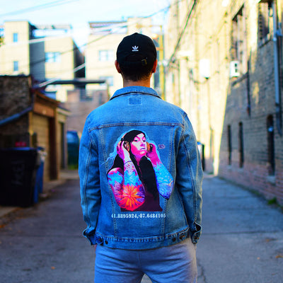 "PakRat Ink Unisex Denim Jacket ""Good Vibrations"" by Czr Prz Chicago Alley 2"
