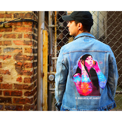 "PakRat Ink Unisex Denim Jacket ""Good Vibrations"" by Czr Prz Chicago Alley"