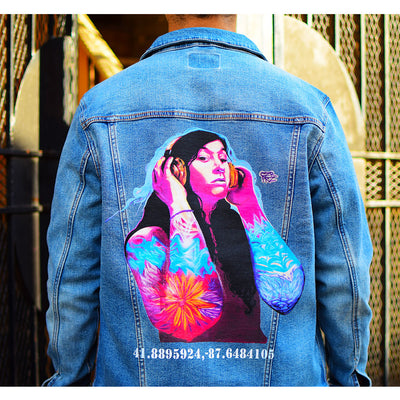 "PakRat Ink Unisex Denim Jacket ""Good Vibrations"" by Czr Prz Chicago Alley Close Up"