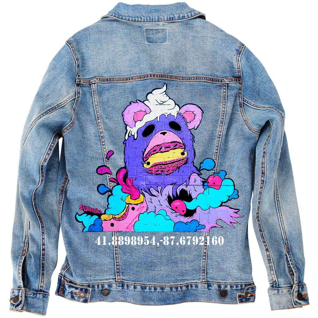 "PakRat Ink Unisex Denim Jacket ""Sugared Plum"" by Elloo"