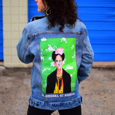 "PakRat Ink Unisex Denim Jacket ""Big Frida"" by Marco Miller Street Style"