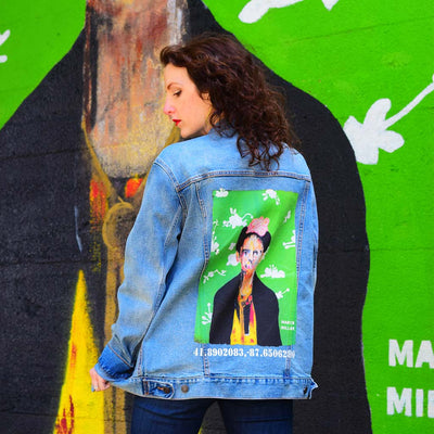 "PakRat Ink Unisex Denim Jacket ""Big Frida"" by Marco Miller Urban Style"