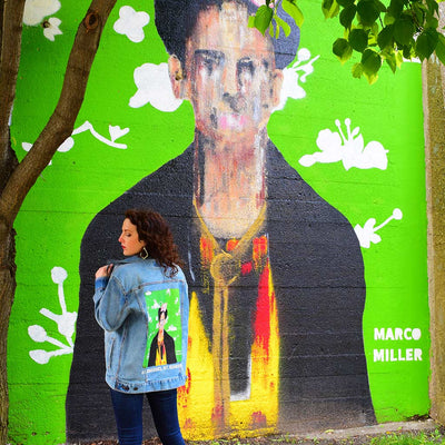"PakRat Ink Unisex Denim Jacket ""Big Frida"" by Marco Miller Street Art"