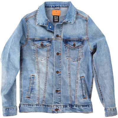 "PakRat Ink Unisex Denim Jacket Front ""Take Off"" by Bunny!XLV"