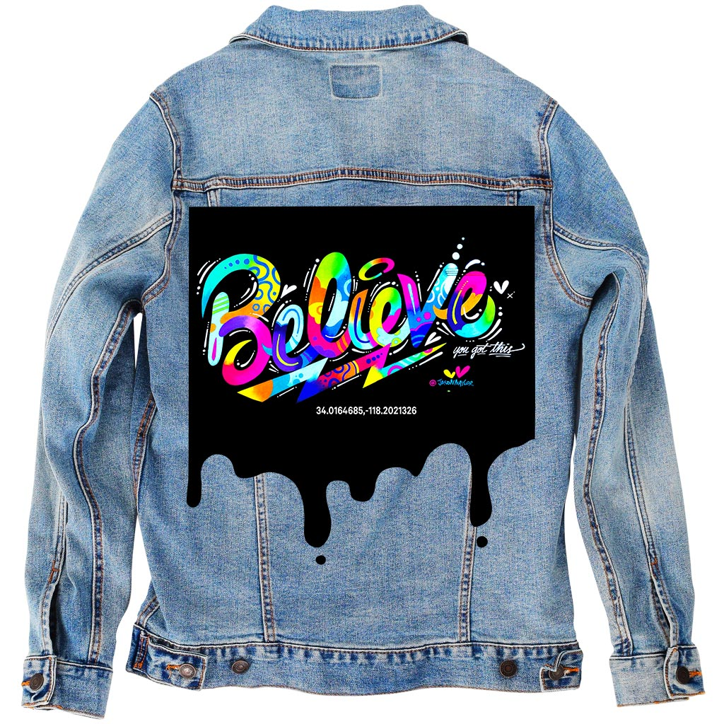 "PakRat Ink Unisex Denim Jacket ""Believe"" by Jason Naylor"