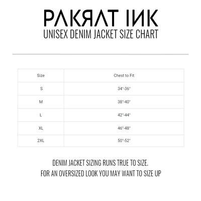 PakRat Ink Unisex Denim Jacket Size Chart
