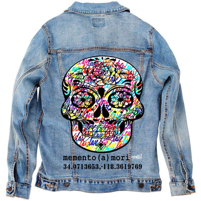 "PakRat Ink Unisex Denim Jacket ""memento (a) mori"" by Ruben Rojas"