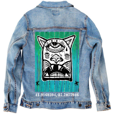 "PakRat Ink Unisex Denim Jacket ""Patio Dweller 1"" by Jaymes Josef"
