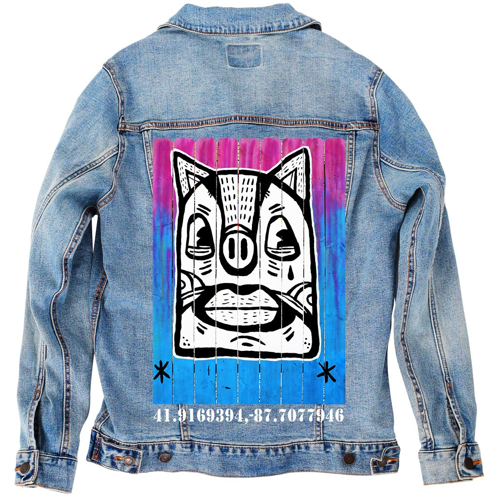 "PakRat Ink Unisex Denim Jacket ""Patio Dweller 3"" by Jaymes Josef"