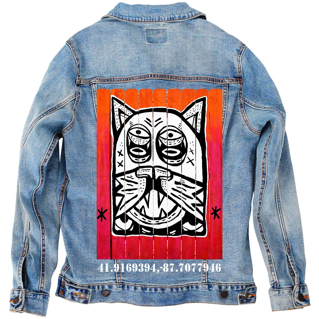 "PakRat Ink Unisex Denim Jacket ""Patio Dweller 2"" by Jaymes Josef"