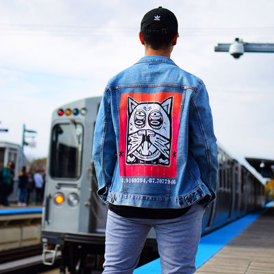 "PakRat Ink Unisex Denim Jacket ""Patio Dweller 2"" by Jaymes Josef Chicago CTA Train Brown Line"