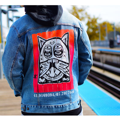 "PakRat Ink Unisex Denim Jacket ""Patio Dweller 2"" by Jaymes Josef Chicago CTA Close Up Train"