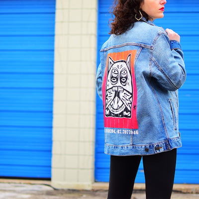 "Unisex Denim Jacket ""Patio Dweller 2"" by Jaymes Josef"
