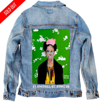 "PakRat Ink Unisex Denim Jacket ""Big Frida"" by Marco Miller"
