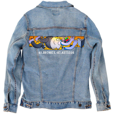 "PakRat Ink Unisex Denim Jacket ""Book Learnin'"" by Mosher"