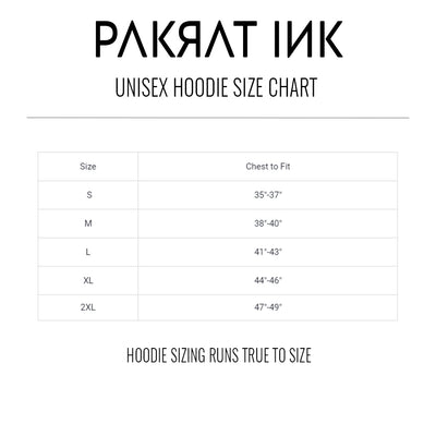 PakRat Ink Unisex Hoodie Size Chart