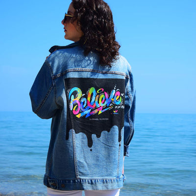 "Unisex Denim Jacket ""Believe"" by Jason Naylor Lifestyle"