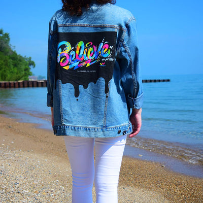 "Unisex Denim Jacket ""Believe"" by Jason Naylor Lifestyle Beach"