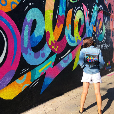 "PakRat Ink ""Believe"" Mural by Street Artist Jason Naylor Unisex Denim Jacket"